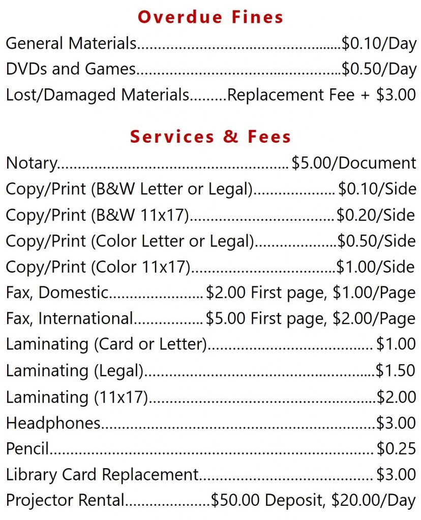 Overdue Fines and Services and Fees